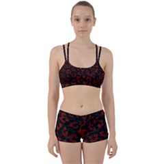 Skin5 Black Marble & Red Wood Women s Sports Set