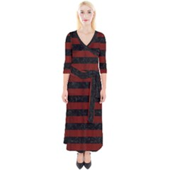 Stripes2 Black Marble & Red Wood Quarter Sleeve Wrap Maxi Dress