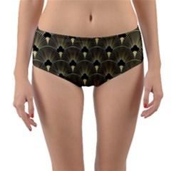 Art Deco Fan Pattern Reversible Mid Waist Bikini Bottoms