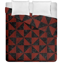 Triangle1 Black Marble & Red Wood Duvet Cover Double Side (california King Size)