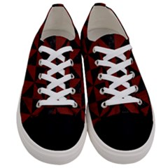 Triangle1 Black Marble & Red Wood Women s Low Top Canvas Sneakers