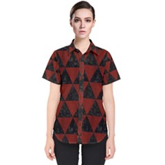 Triangle3 Black Marble & Red Wood Women s Short Sleeve Shirt