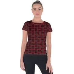 Woven1 Black Marble & Red Wood Short Sleeve Sports Top