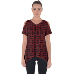Woven1 Black Marble & Red Wood Cut Out Side Drop Tee