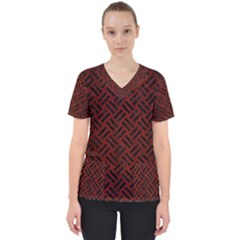 Woven2 Black Marble & Red Wood Scrub Top
