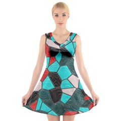 Mosaic Linda 4 V Neck Sleeveless Skater Dress