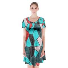 Mosaic Linda 4 Short Sleeve V Neck Flare Dress