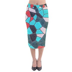 Mosaic Linda 4 Velvet Midi Pencil Skirt