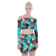 Mosaic Linda 4 Off Shoulder Top With Mini Skirt Set