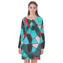Mosaic Linda 4 Long Sleeve Chiffon Shift Dress