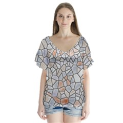Mosaic Linda 6 V Neck Flutter Sleeve Top