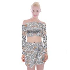Mosaic Linda 6 Off Shoulder Top With Mini Skirt Set
