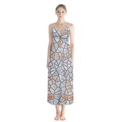 Mosaic Linda 6 Button Up Chiffon Maxi Dress