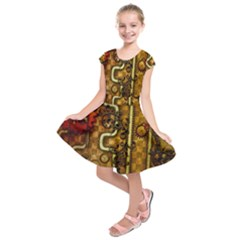 Noble Steampunk Design, Clocks And Gears With Floral Elements Kids  Short Sleeve Dress