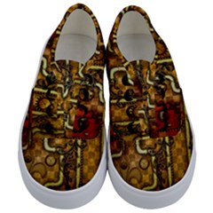 Noble Steampunk Design, Clocks And Gears With Floral Elements Kids  Classic Low Top Sneakers