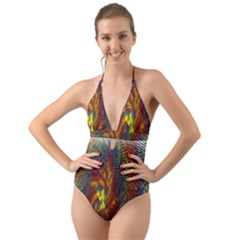 Fire New Year S Eve Spark Sparkler Halter Cut Out One Piece Swimsuit