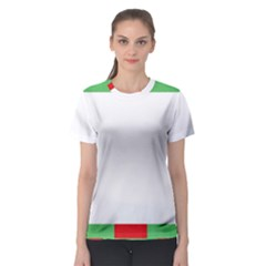 Fabric Christmas Red White Green Women s Sport Mesh Tee