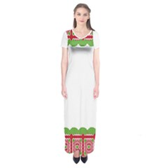 Frame Pattern Christmas Frame Short Sleeve Maxi Dress