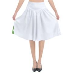 Frame Pattern Christmas Frame Flared Midi Skirt