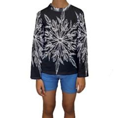 Ice Crystal Ice Form Frost Fabric Kids  Long Sleeve Swimwear