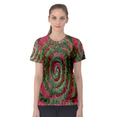 Red Green Swirl Twirl Colorful Women s Sport Mesh Tee