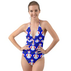 Seamless Repeat Repeating Pattern Halter Cut Out One Piece Swimsuit