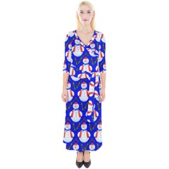 Seamless Repeat Repeating Pattern Quarter Sleeve Wrap Maxi Dress
