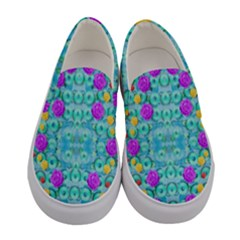 Season For Roses And Polka Dots Women s Canvas Slip Ons