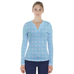 Snowflakes Paper Christmas Paper V Neck Long Sleeve Top