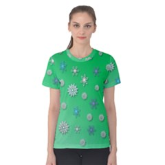 Snowflakes Winter Christmas Overlay Women s Cotton Tee