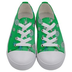 Snowflakes Winter Christmas Overlay Kids  Low Top Canvas Sneakers