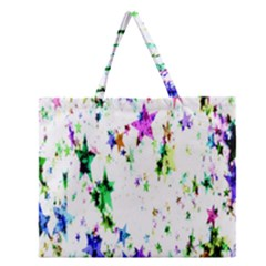 Star Abstract Advent Christmas Zipper Large Tote Bag