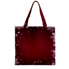 Star Background Christmas Red Zipper Grocery Tote Bag