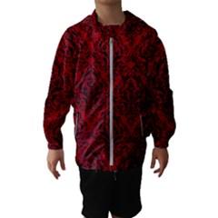 Damask1 Black Marble & Red Leather Hooded Wind Breaker (kids)