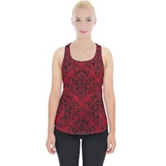 Damask1 Black Marble & Red Leather Piece Up Tank Top