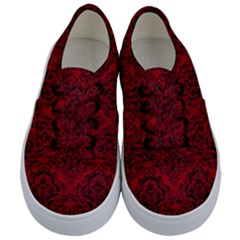 Damask1 Black Marble & Red Leather Kids  Classic Low Top Sneakers
