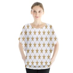Star Background Gold White Blouse