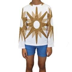 Star Golden Glittering Yellow Rays Kids  Long Sleeve Swimwear