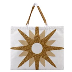Star Golden Glittering Yellow Rays Zipper Large Tote Bag