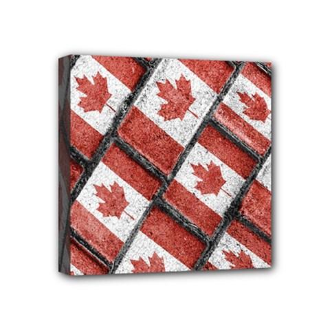 Canadian Flag Motif Pattern Mini Canvas 4  X 4