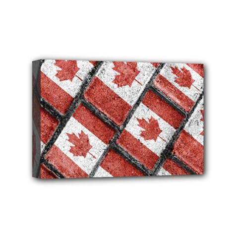 Canadian Flag Motif Pattern Mini Canvas 6  X 4