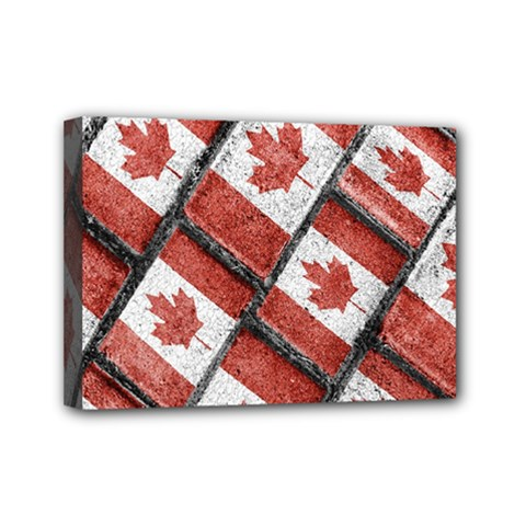Canadian Flag Motif Pattern Mini Canvas 7  X 5