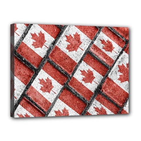 Canadian Flag Motif Pattern Canvas 16  X 12