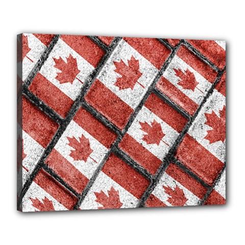 Canadian Flag Motif Pattern Canvas 20  X 16