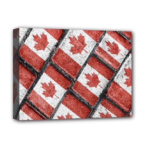 Canadian Flag Motif Pattern Deluxe Canvas 16  X 12