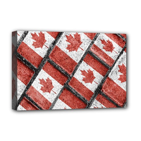 Canadian Flag Motif Pattern Deluxe Canvas 18  X 12