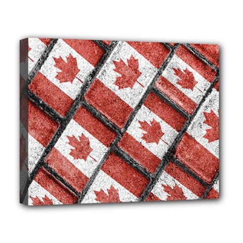 Canadian Flag Motif Pattern Deluxe Canvas 20  X 16