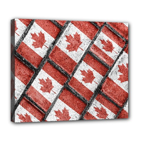 Canadian Flag Motif Pattern Deluxe Canvas 24  X 20