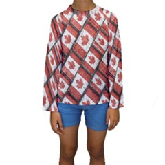 Canadian Flag Motif Pattern Kids  Long Sleeve Swimwear