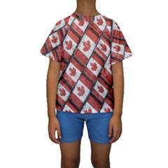 Canadian Flag Motif Pattern Kids  Short Sleeve Swimwear